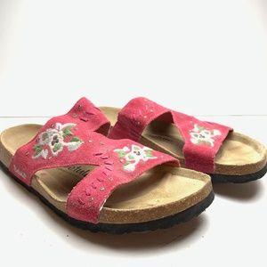 BIRKENSTOCK BETULA Embroidered Leather Sandals